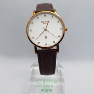SW.POLO ASS'N 8387L ROSE GOLD BROWN LEATHER WATCH