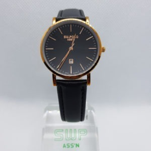 SW.POLO ASS'N 8387L ROSE GOLD BLACK LEATHER WATCH