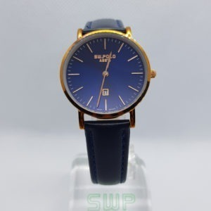 SW.POLO ASS'N 8387L ROSE GOLD BLUE LEATHER WATCH