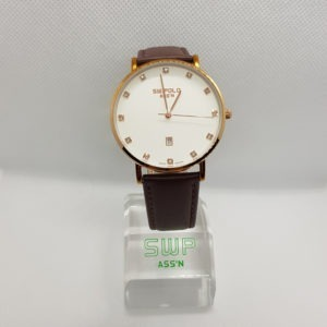 SW.POLO ASS'N 8387M ROSE GOLD BROWN LEATHER WATCH