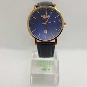 SW.POLO ASS'N 8387M ROSE GOLD BLUE LEATHER WATCH