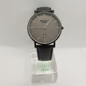 SW.POLO ASS'N 8387M IP BLACK BLACK LEATHER WATCH