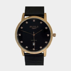 SW.POLO ASS'N 8389M IP Rose Gold Black Leather Watch